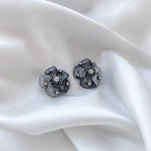 Vintage Mid-Century Steel Flower Clip-On Earrings
